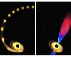 ブラックホールが星を飲み込み「ゲップ」をする様子が観察される