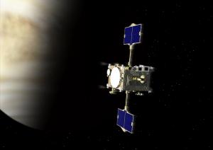 金星探査に再チャレンジする「あかつき」の想像図。(c)JAXA