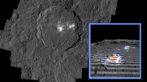 小惑星ケレスの輝くスポット 湧き出す「熱水」と炭酸塩が形成か