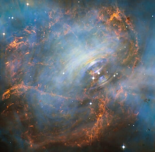 Moving heart of the Crab Nebula