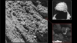 喪失した着陸船「フィラエ」、彗星の岩陰で奇跡的に発見 ロゼッタ探査機が撮影成功