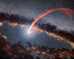 超巨大ブラックホールが星を食べ、炎を吹き出す様子の観察に成功