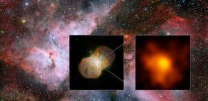 2つの巨大恒星が撒き散らす美しい「恒星風」 りゅうこつ座イータ星の詳細観測に成功