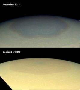 「土星」の北極の色、青から金色に変わる その原因は…?