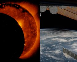 宇宙から見た「地上の日食」と「太陽の食」、セットでどうぞ