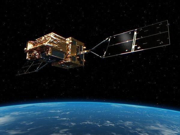 軌道上の「しきさい」の想像図。センサーを地球に向け、手前に向かって飛行する。
