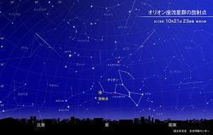 2018年オリオン座流星群は10月21日に極大。東の夜空に1〜5個の流れ星