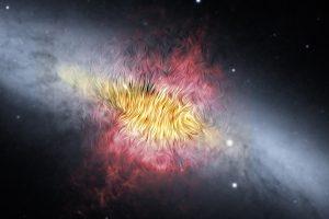 銀河の風は磁場をも動かす。NASAの空中天文台が葉巻銀河の銀河風を観測