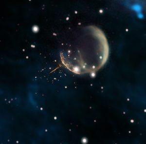 地球から月まで6分。高速で飛び去るパルサーが描き出した長さ13光年の尾