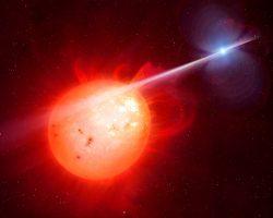 地球サイズで爆速に自転する主星。高エネルギー粒子をぶつけられる伴星