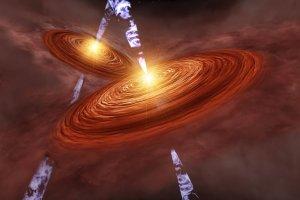 """噴き出す分子流の向きが不揃いな""""生まれたばかりの双子星""""を初観測"""