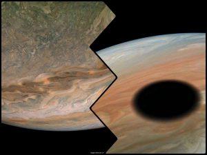 木星のジェット気流や丸い影。探査機ジュノーが22回目フライバイ時に撮影