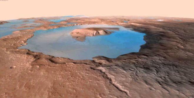ゲール・クレーターを満たしていた湖の想像図(Credit: Evan Williams, with data from the Mars Reconnaissance Orbiter HIRISE project)