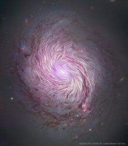 銀河に「磁石」を置くとどう見える?渦巻き磁場