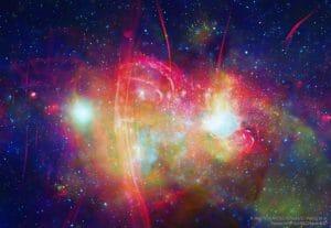 銀河系の中心をX線と電波で描くと大迫力の花火のよう