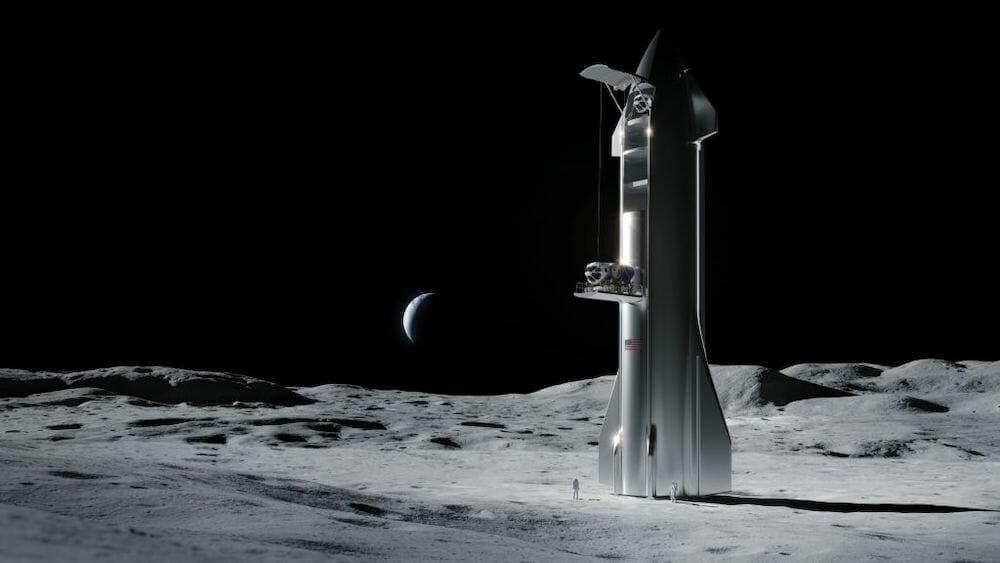 月に着陸したスターシップ(想像図)