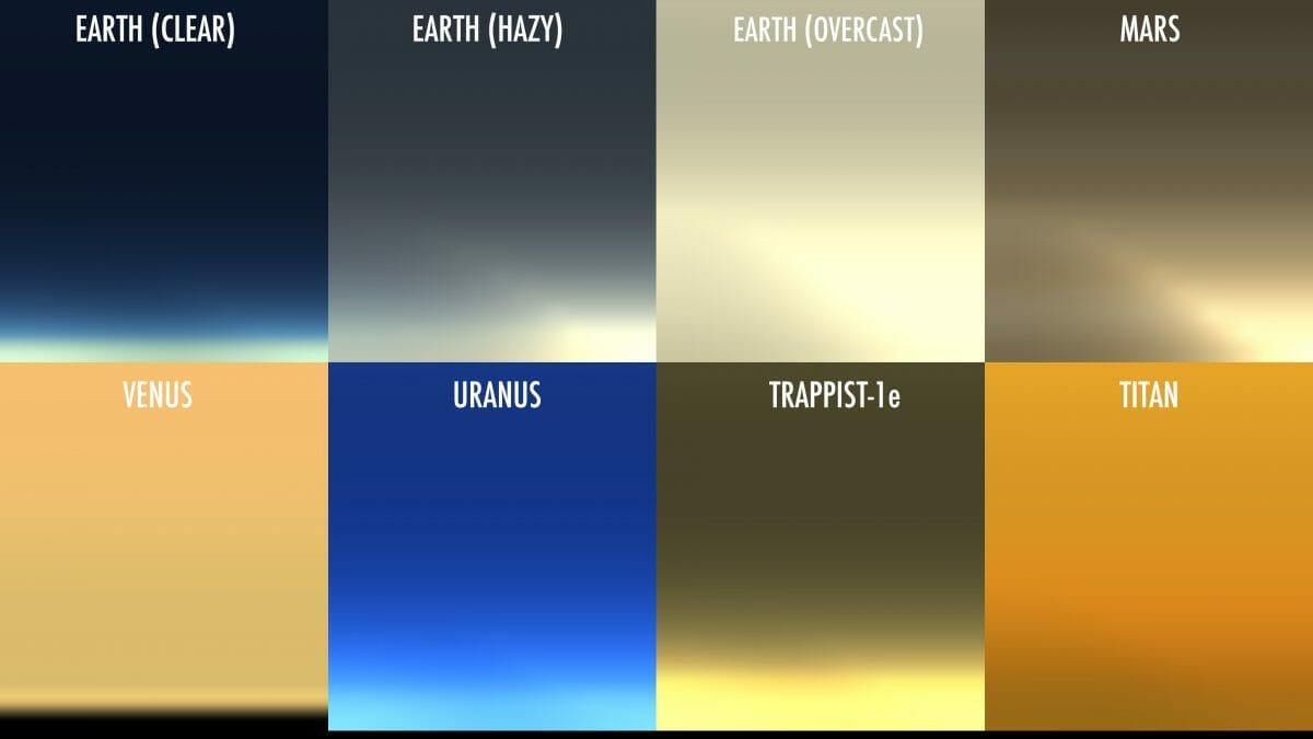 惑星や衛星における夕暮れ時の空