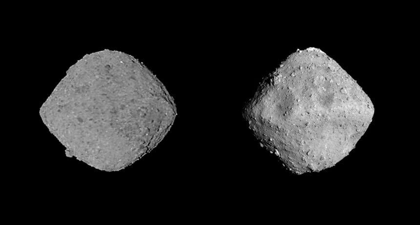 小惑星リュウグウ(右)とベンヌ(左)(Credit: ESA)