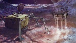 蒸気を噴き出し飛び上がるドローンが氷の衛星を探査するコンセプト