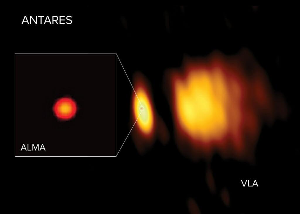 アルマ望遠鏡とカール・ジャンスキー超大型干渉電波望遠鏡群によって観測されたアンタレスとその周辺