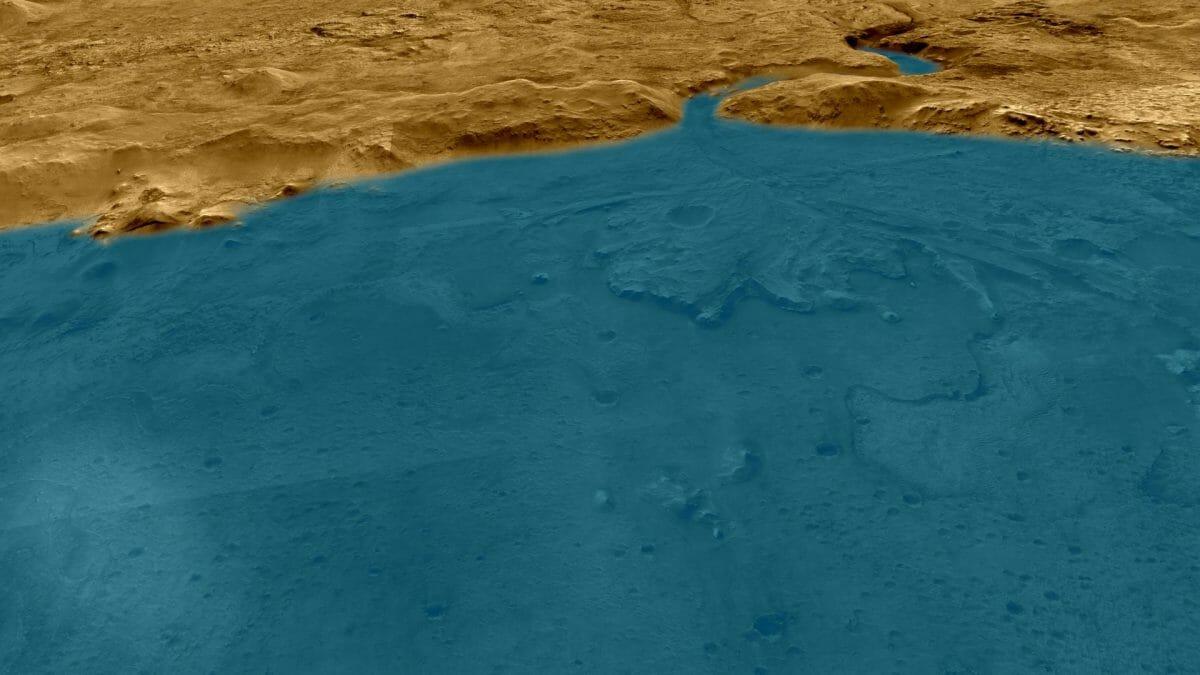 水で満たされていた頃のジェゼロ・クレーター西部を描いた想像図(Credit: NASA/JPL-Caltech/University of Arizona)