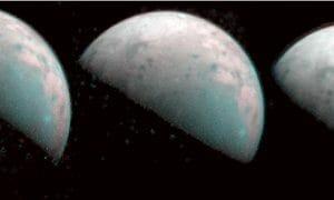 木星の衛星ガニメデの北極域、探査機ジュノーが赤外線で初撮影