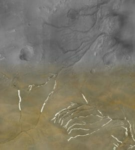 火星に数多く存在する谷、氷床の下の水流によって形成された可能性