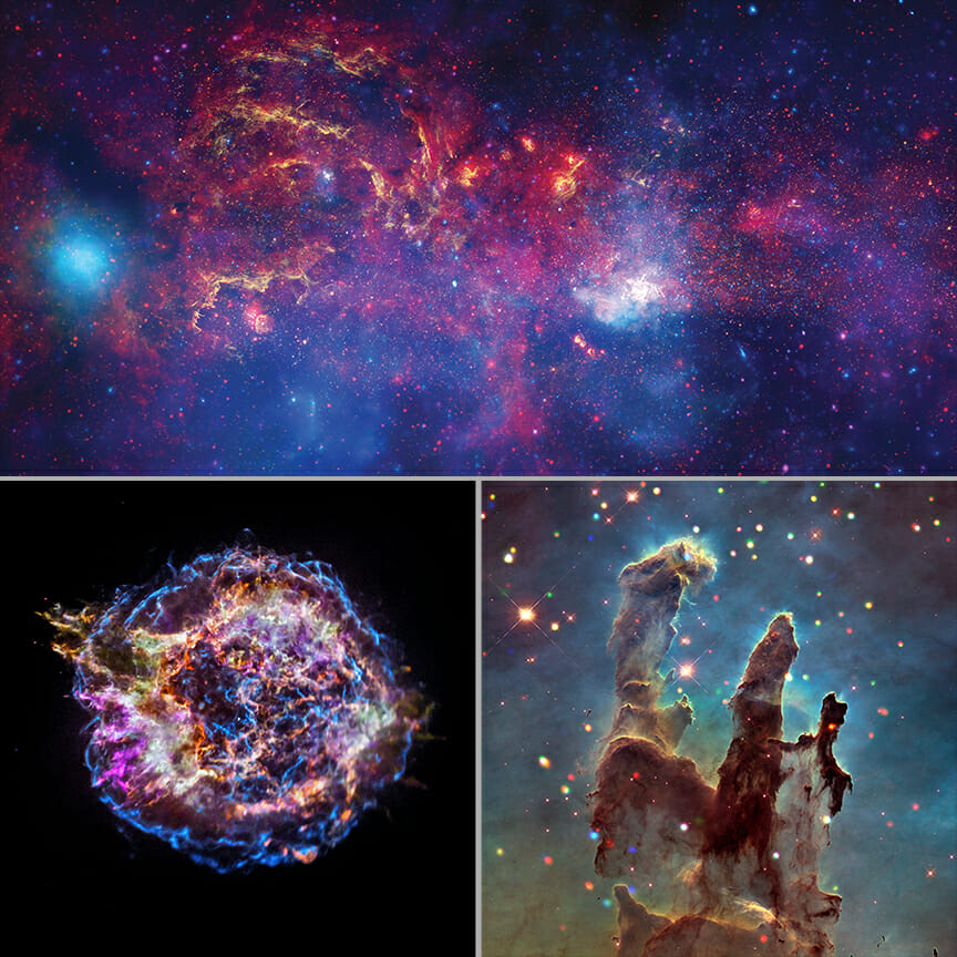 天の川銀河の中心方向、カシオペヤ座A、わし星雲の創造の柱