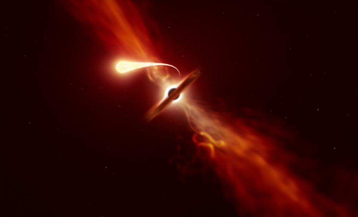 超大質量ブラックホール(中央)に引き裂かれながら飲み込まれていく恒星(中央左上)を描いた想像図