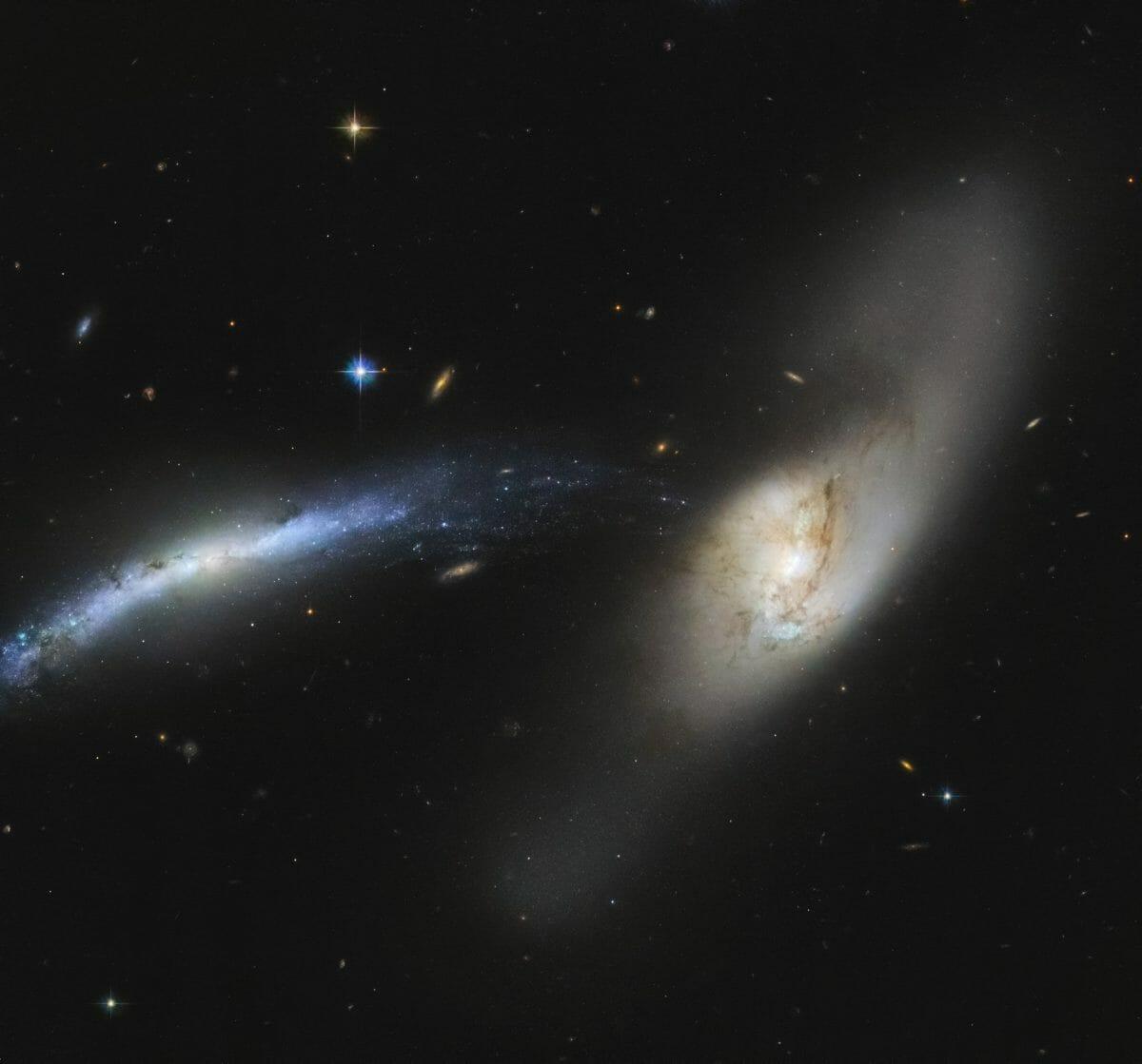 相互作用銀河「NGC 2798」(右)と「NGC 2799」(左)
