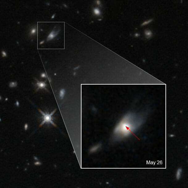 2020年5月22日に検出されたガンマ線バースト「GRB 200522A」の残光(矢印)