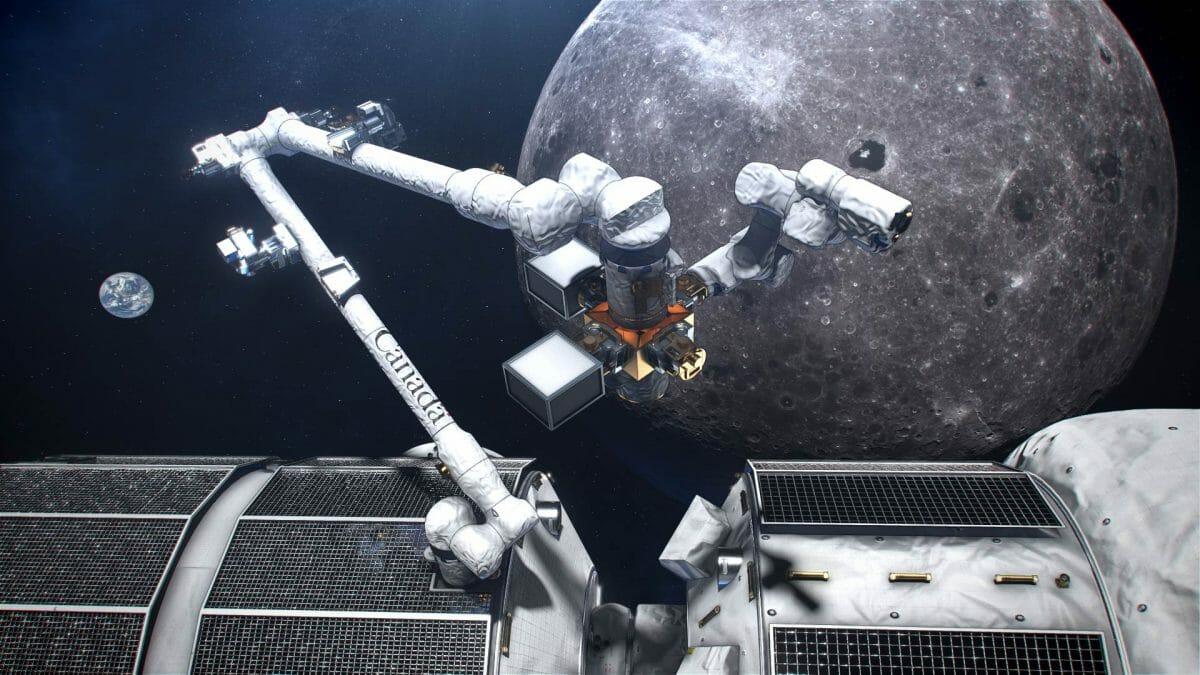 月周回有人拠点「ゲートウェイ」に設置された「カナダアーム3」(中央)を描いた想像図(Credit: CSA/NASA)