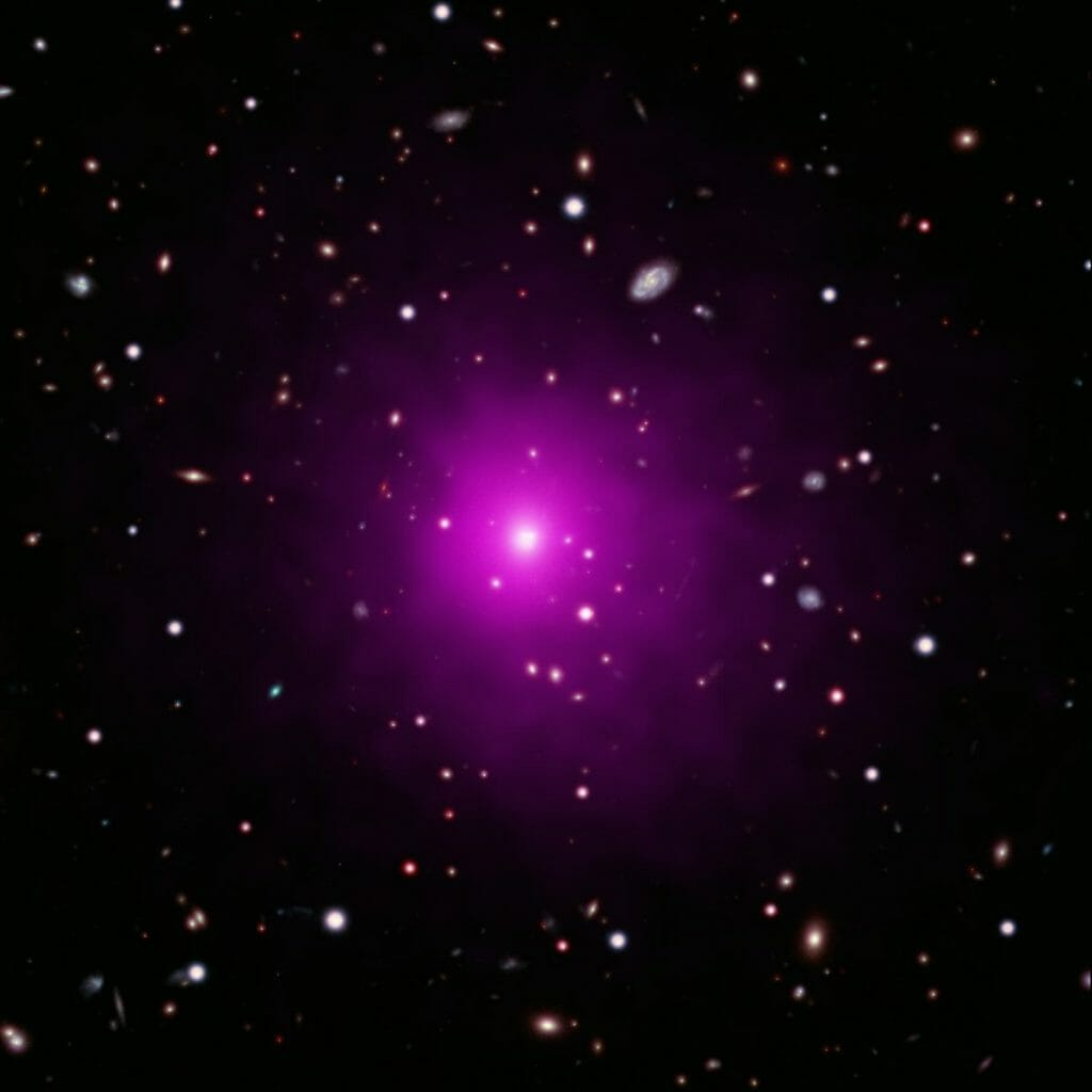可視光線と赤外線(背景)およびX線(紫色)で観測された銀河団「Abell 2261」。中心にあるのが今回の研究対象となった銀河(Credit: X-ray: NASA/CXC/Univ of Michigan/K. Gültekin; Optical: NASA/STScI and NAOJ/Subaru; Infrared: NSF/NOAO/KPNO)