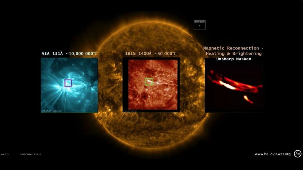 左端のフレームから右端のフレームにかけてズームアップされている。一番、右端のフレームに映っているのがナノフレアではないかと推測されているループ(loops=輪)。(Image Credit:NASA/SDO/IRIS/Shah Bahauddin)