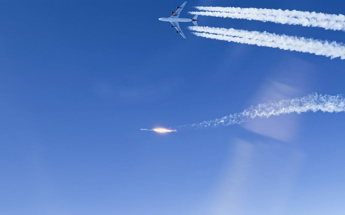 空中発射母機コズミックワンから離れるランチャーワン(Credit: Virgin Orbit Twitter)