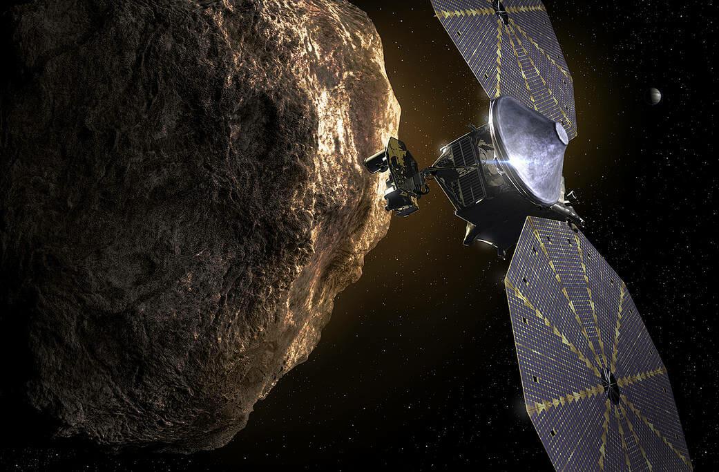 トロヤ群小惑星を探査する「Lucy」(Credit: NASA)