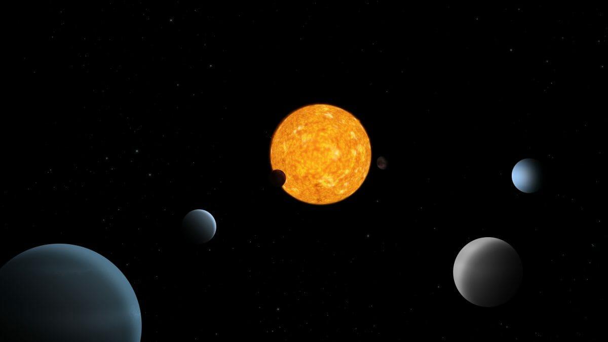 恒星「TOI-178」とその周囲で検出された6つの系外惑星を描いたイメージ図(Credit: ESA)