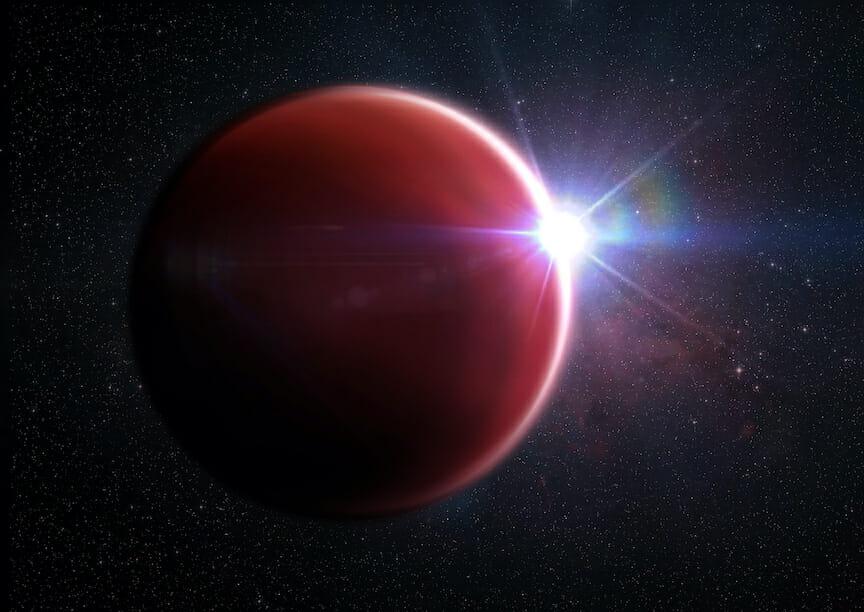 太陽系外惑星「WASP-62b」を描いた想像図。澄んだ大気を通して主星「WASP-62」の光が見えている(Credit: M. Weiss/Center for Astrophysics | Harvard & Smithsonian)