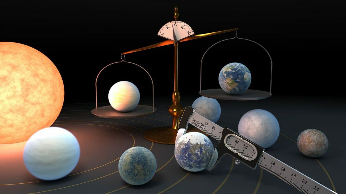 赤色矮星TRAPPIST-1(左端)を周回する7つの系外惑星と地球(天秤の右側)を比較する研究を表したイメージ図(Credit: NASA/JPL-Caltech)