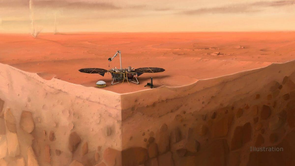 火星探査機「インサイト」を地下の様子とともに描いた想像図(Credit: IPGP/Nicolas Sarter)