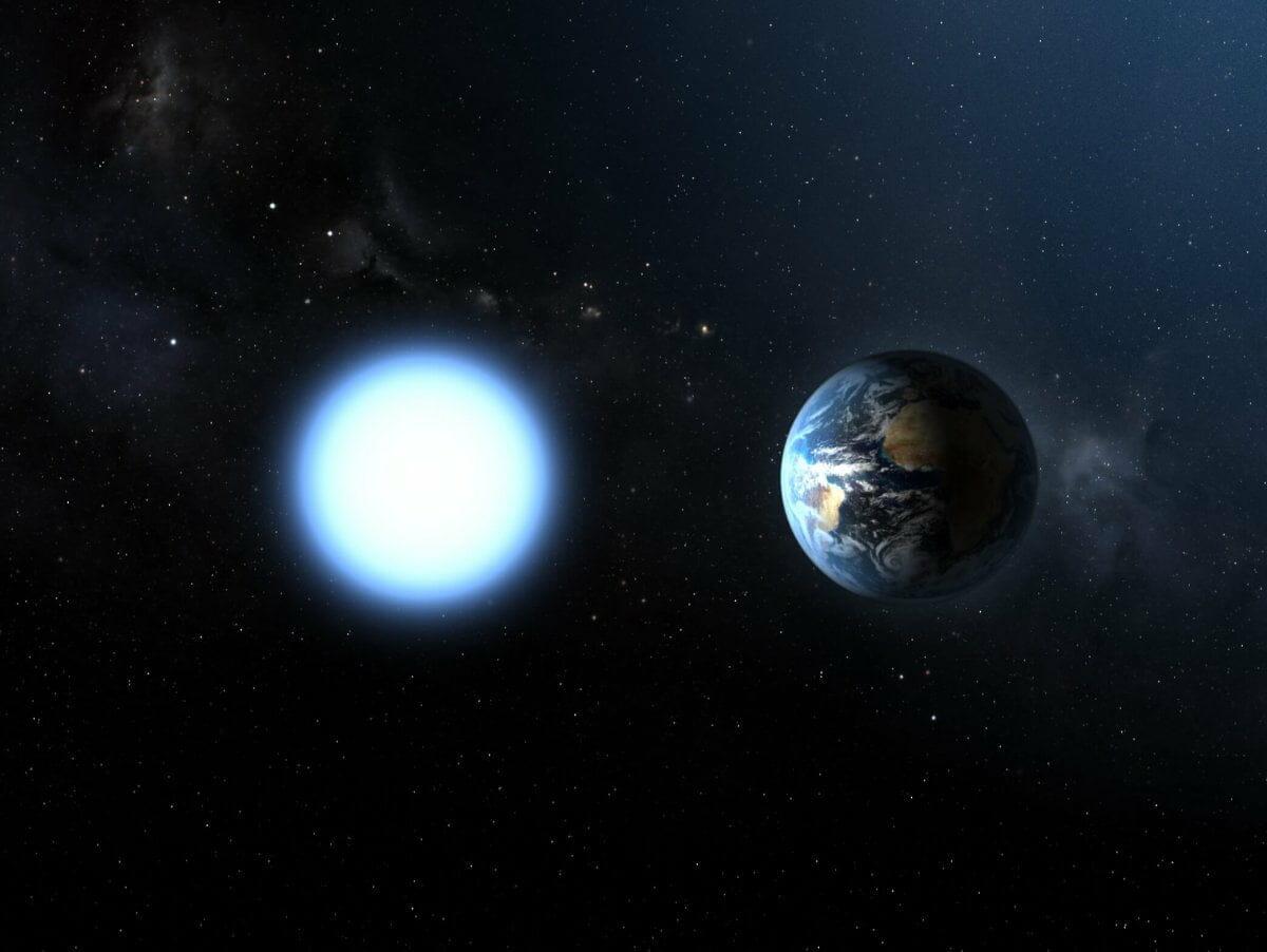 白色矮星「シリウスB」(左)と地球(右)を比べたイメージ図(Credit: ESA/NASA)