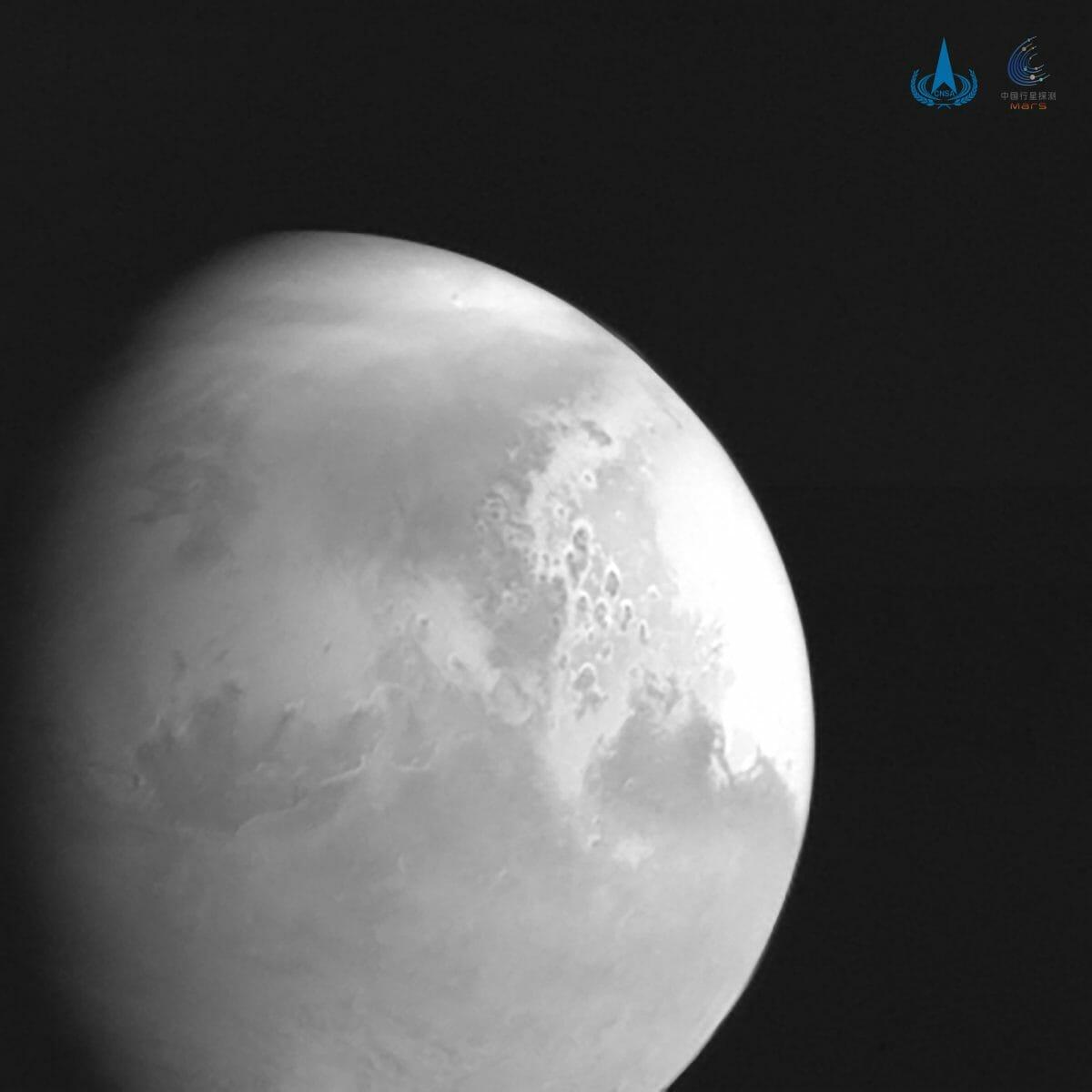 中国の火星探査機「天問1号」が撮影した火星の様子。(Credit: CNSA)
