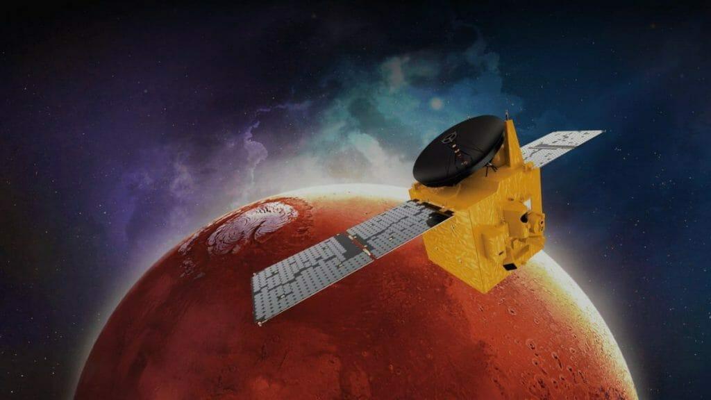 UAEの火星探査機「HOPE」を描いた想像図(Credit: UAE Space Agency)