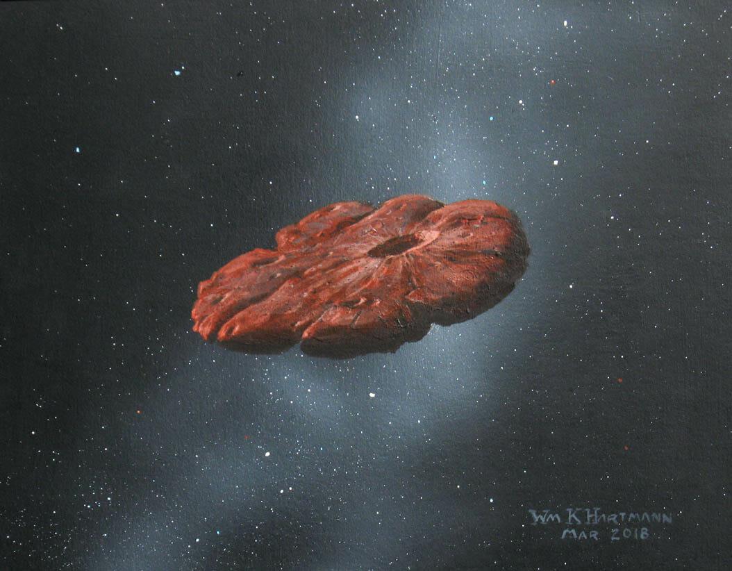 アメリカ惑星科学研究所の名誉上席研究員William Hartmann氏による扁平な形をしたオウムアムアの想像図(Credit: William Hartmann)