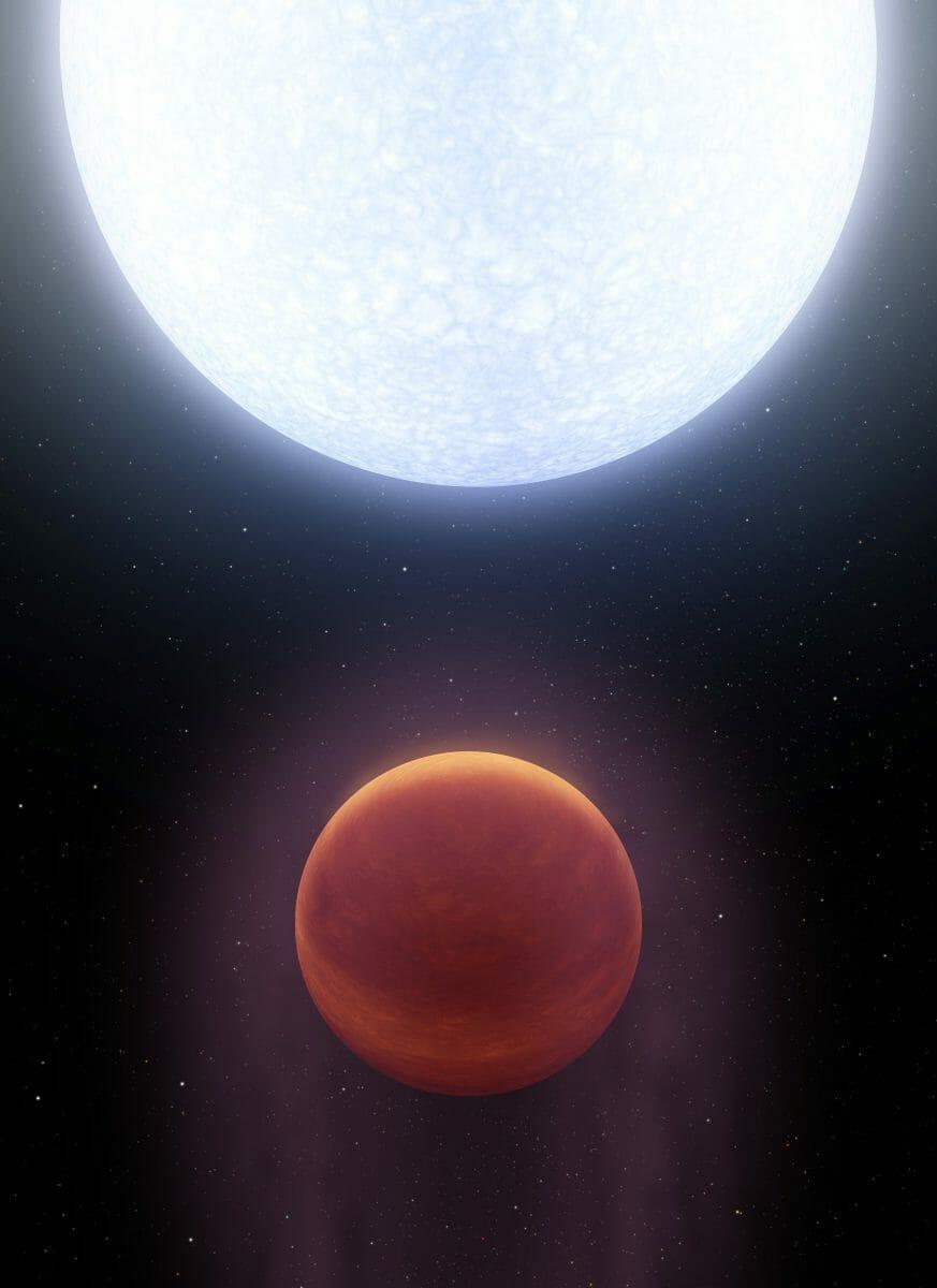恒星「KELT-9」(上)を周回する系外惑星「KELT-9b」(下)を描いた想像図。ベガにもKELT-9bのように高温な系外惑星が存在する可能性が示された(Credit: NASA/JPL-Caltech)