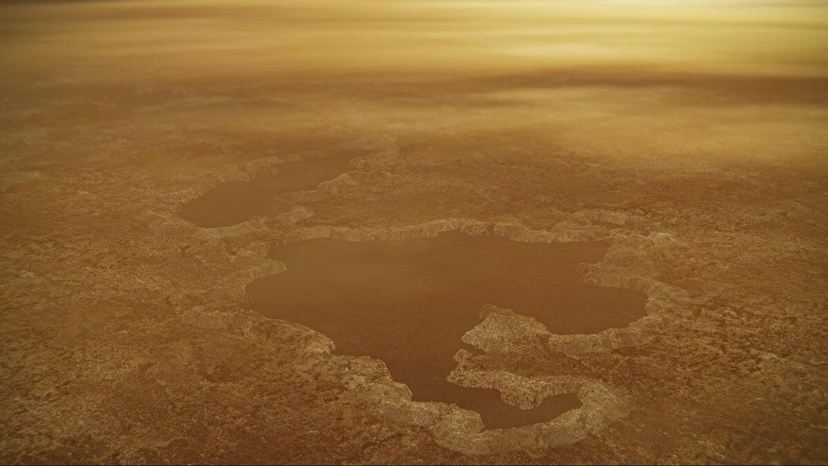 タイタンの湖の想像図(NASA/JPL-Caltech)