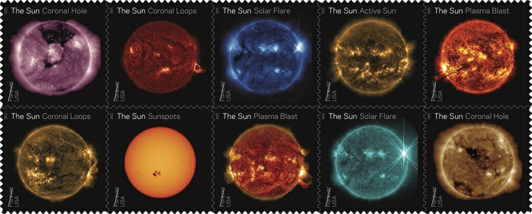 The United States Post office announced on Jan. 15, 2021, that they would be releasing a series of stamps highlighting images of the Sun captured by NASA's Solar Dynamics Observatory.(Credit: NASA / SDO / USPS)