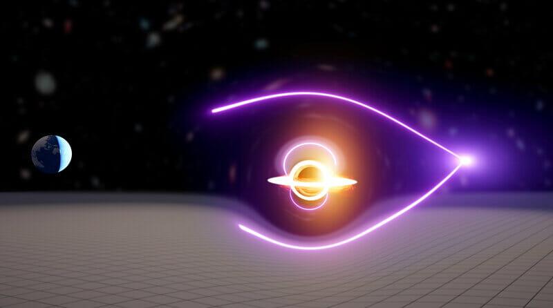 重力レンズ効果によって光(電磁波)の到着時間に差が生じることを解りやすく解説したイラスト。今回の研究では光源としてガンマ線バーストが使われた。(Image Credit:Carl Knox, OzGrav.)