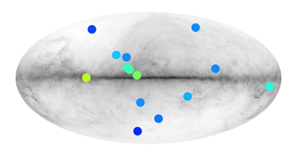ガンマ線の分析によって絞り込まれた14個の反物質星の候補の分布図(Credit:S. Dupourqué/IRAP)