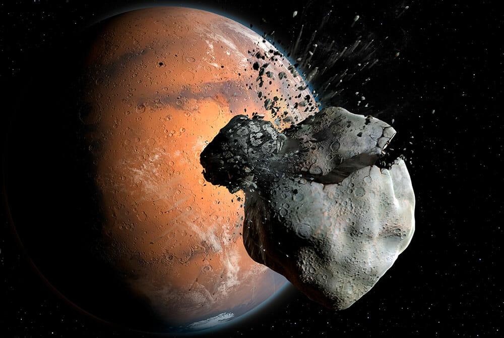 今回のシミュレーションを使った研究で火星の衛星フォボスとダイモスは同じ1つの原始月に他の天体が衝突してつくられた可能性があることが示された(Credit: Grafik: Mark Garlick / markgarlick.com)